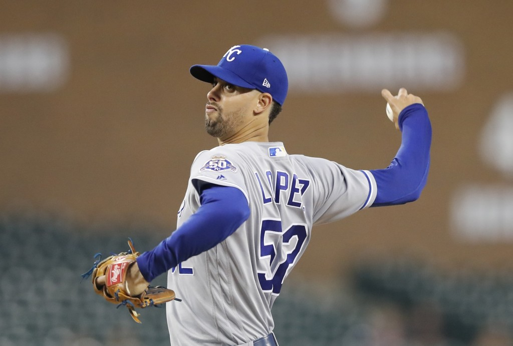 Kansas City Royals staring pitcher Jorge Lopez throws during the first inning of the team's baseball game against the Detroit Tigers, Thursday, Sept.