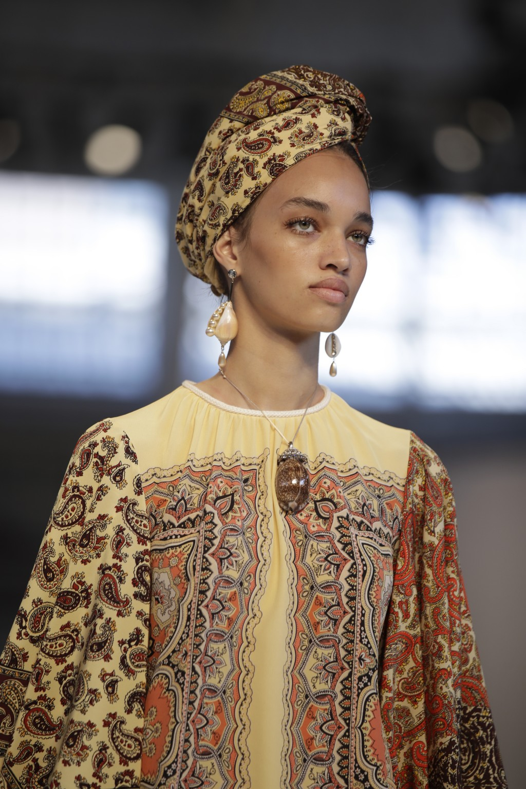 A model wears a creation as part of the Etro women's 2019 Spring-Summer collection, unveiled during the Fashion Week in Milan, Italy, Friday, Sept. 21...