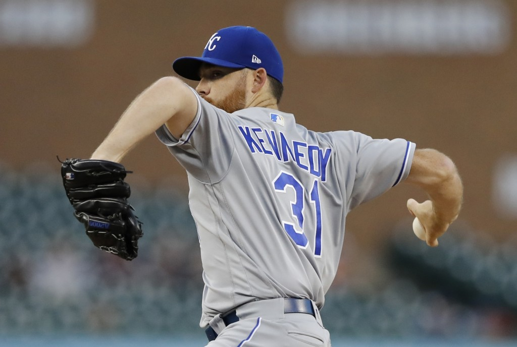 Kansas City Royals starting pitcher Ian Kennedy throws during the first inning of a baseball game against the Detroit Tigers, Friday, Sept. 21, 2018,