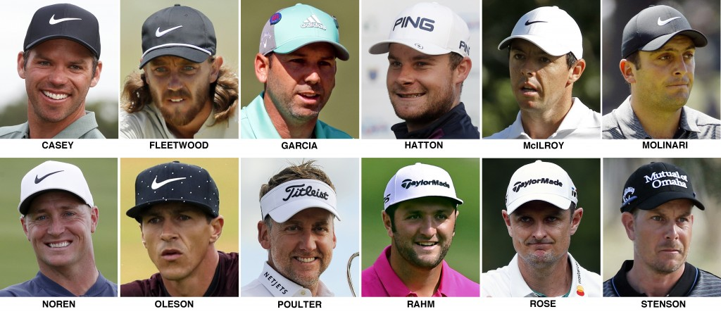 FILE - These 2018 file photos show the members of the European Ryder Cup golf team. They are, top row from left, Paul Casey, Tommy Fleetwood, Sergio G