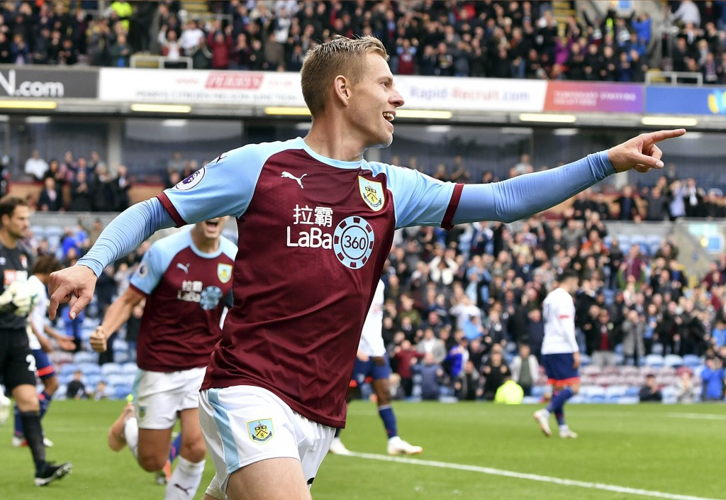 Burnley's Matej Vydra celebrates scoring his side's first goal of the game, during the English Premier League soccer match between Burnley and Bournem...