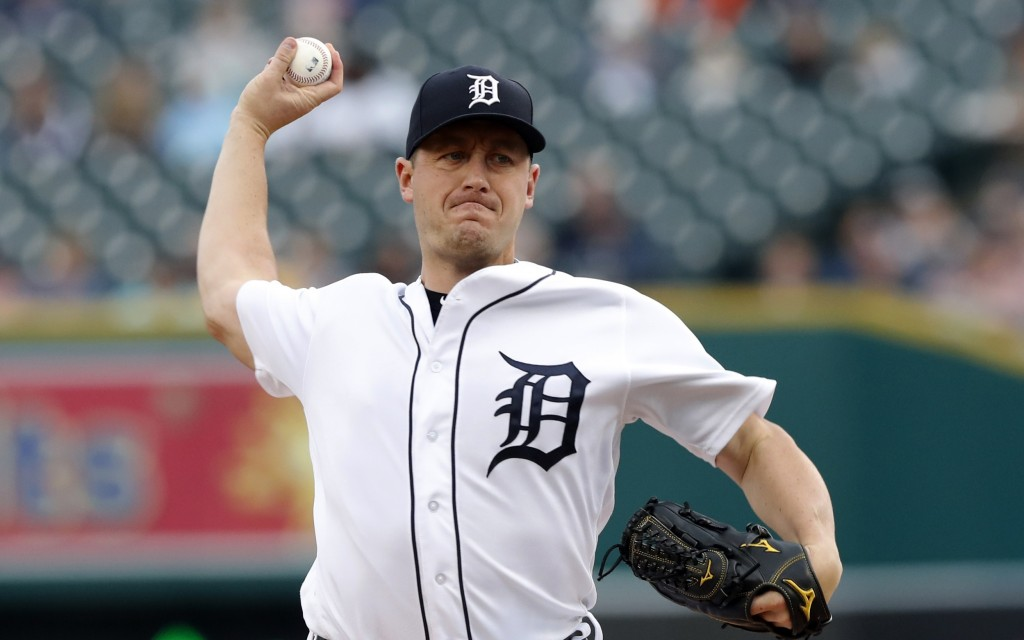 Detroit Tigers starting pitcher Jordan Zimmermann throws during the second inning of the team's baseball game against the Kansas City Royals, Saturday