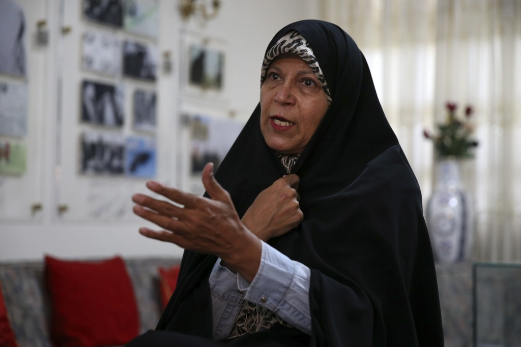 In this Thursday, Sept. 6, 2018 photo, Faezeh Hashemi, the activist daughter of Iran's late President Akbar Hashemi Rafsanjani, speaks in an interview...