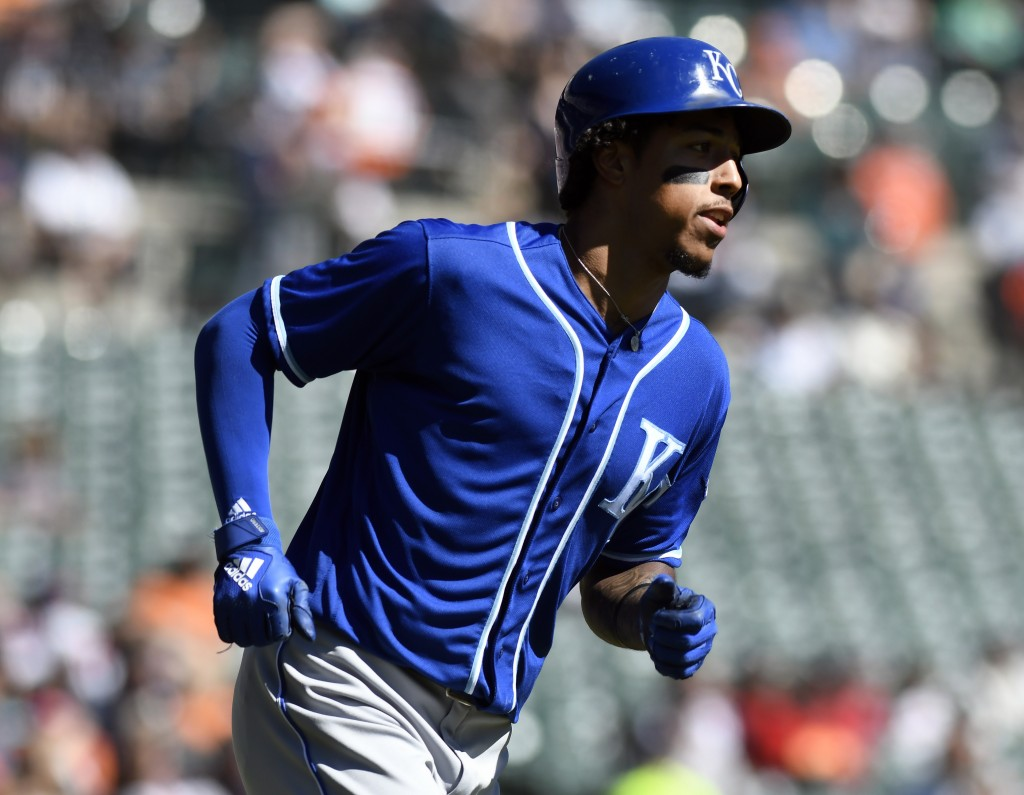 Kansas City Royals' Adalberto Mondesi rounds first base after hitting a home run off Detroit Tigers starting pitcher Daniel Norris in the first inning
