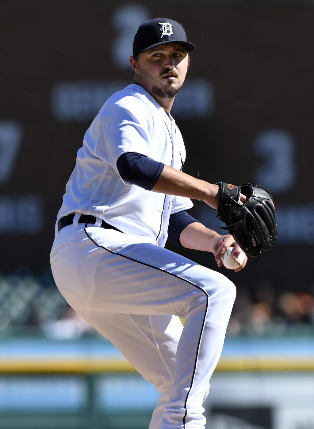 Detroit Tigers' Blaine Hardy throws against the Kansas City Royals during the seventh inning of a baseball game in Detroit, Sunday, Sept. 23, 2018. (A