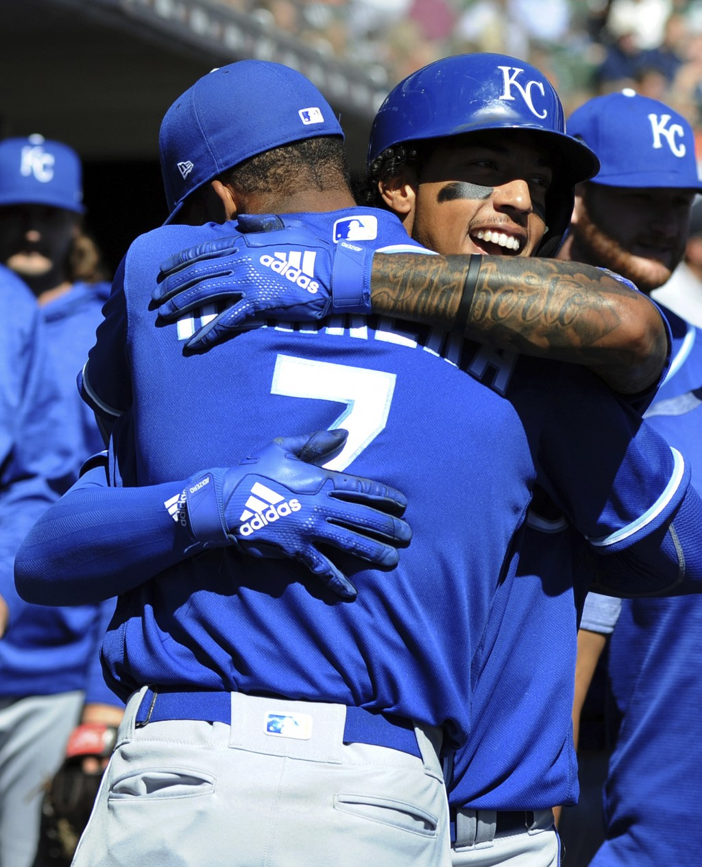 Kansas City Royals' Adalberto Mondesi, right, is congratulated by Rosell Herrera after hitting a home run off Detroit Tigers starting pitcher Daniel N