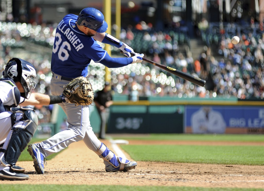 Kansas City Royals' Cam Gallagher flies out against the Detroit Tigers during the fourth inning of a baseball game in Detroit, Sunday, Sept. 23, 2018.