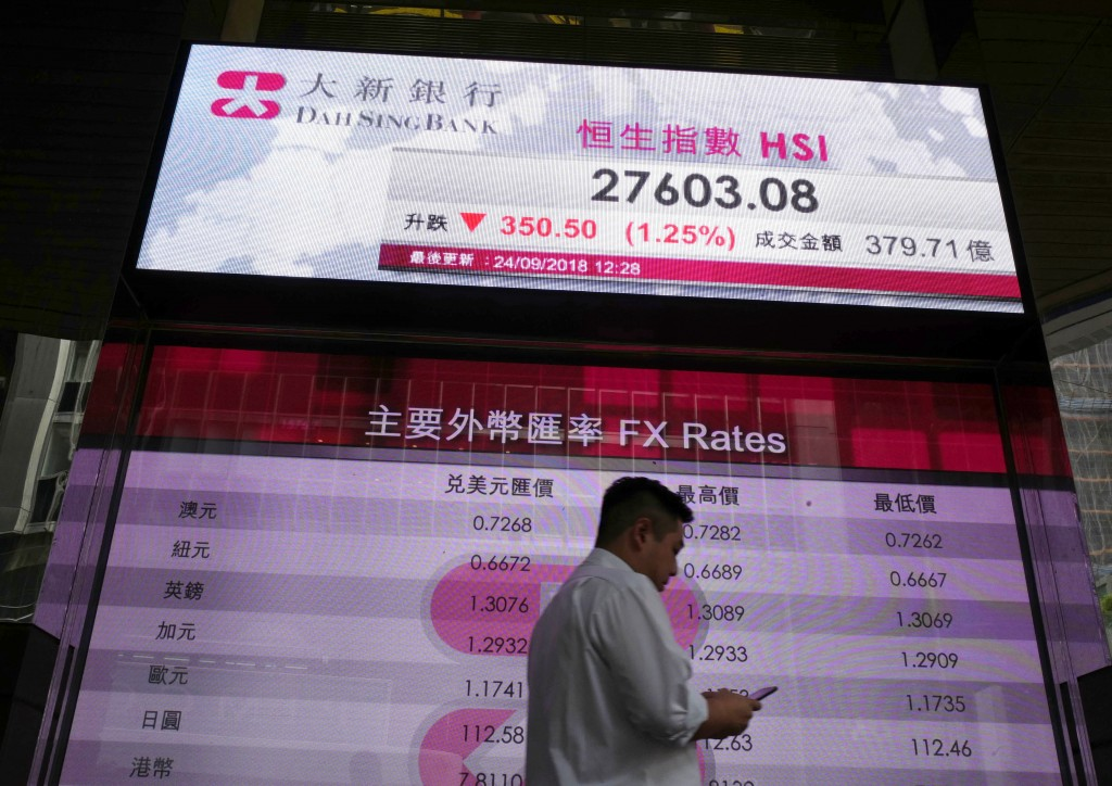 A man walks past an electronic board showing Hong Kong share index outside a local bank in Hong Kong, Monday, Sept. 24, 2018. Shares have fallen in As