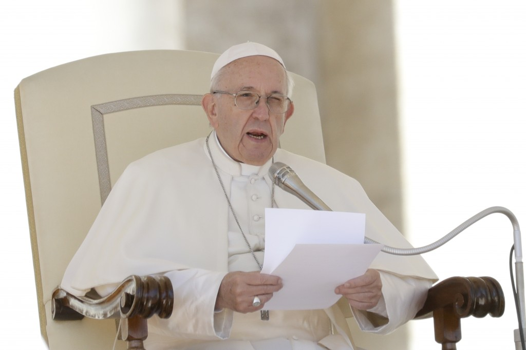 Pope Francis delivers his message during his weekly general audience in St. Peter's Square at the Vatican, Wednesday, Sept. 26, 2018. Pope Francis on ...