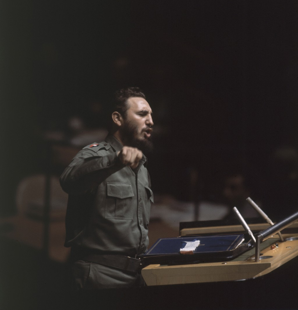 FILE - In this Sept. 27, 1960 file photo, Cuban Prime Minister Fidel Castro speaks to United Nations General Assembly, at U.N. headquarters. The Cuban