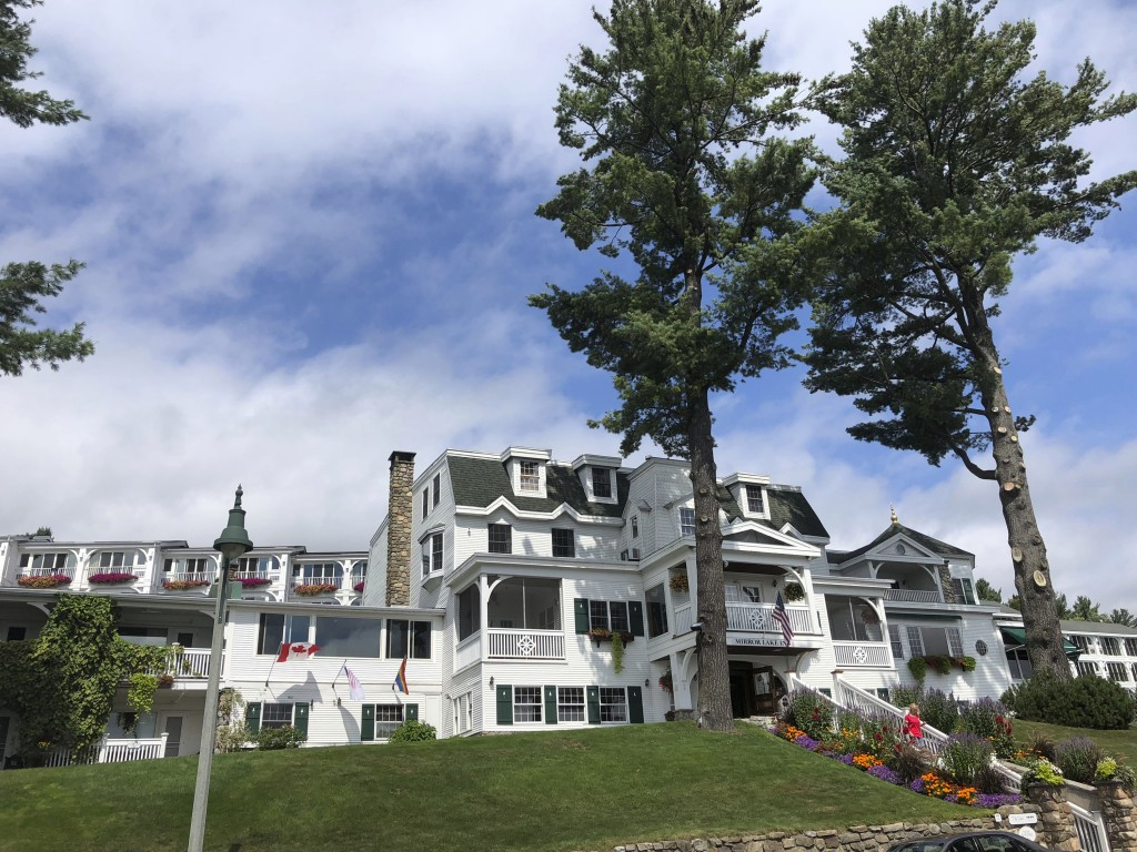 In this Sept. 1, 2018, photo, shows the Mirror Lake Inn in Lake Placid, N.Y., where former Olympic skier Andrew Weibrecht spends weekends helping his ...