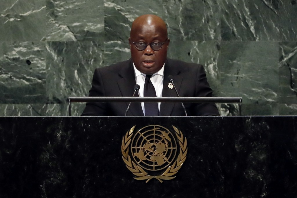 Ghana's President Nana Addo Dankwa Akufo-Addo addresses the 73rd session of the United Nations General Assembly, at U.N. headquarters, Wednesday, Sept...