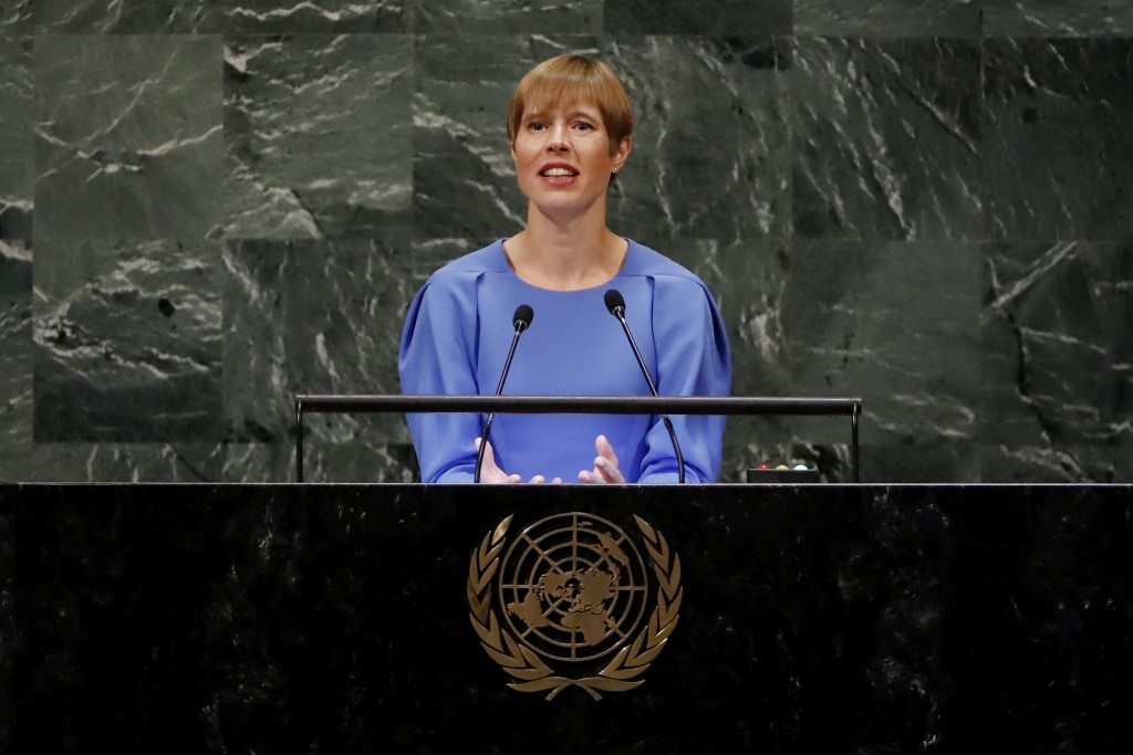 Estonia's President Kersti Kaljulaid addresses the 73rd session of the United Nations General Assembly, at U.N. headquarters, Wednesday, Sept. 26, 201...