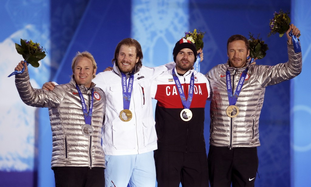 FILE - In this Feb. 16, 2014 file photo, men's super-G medalists, from left; United States' Andrew Weibrecht, silver, Norway's Kjetil Jansrud, gold, a...