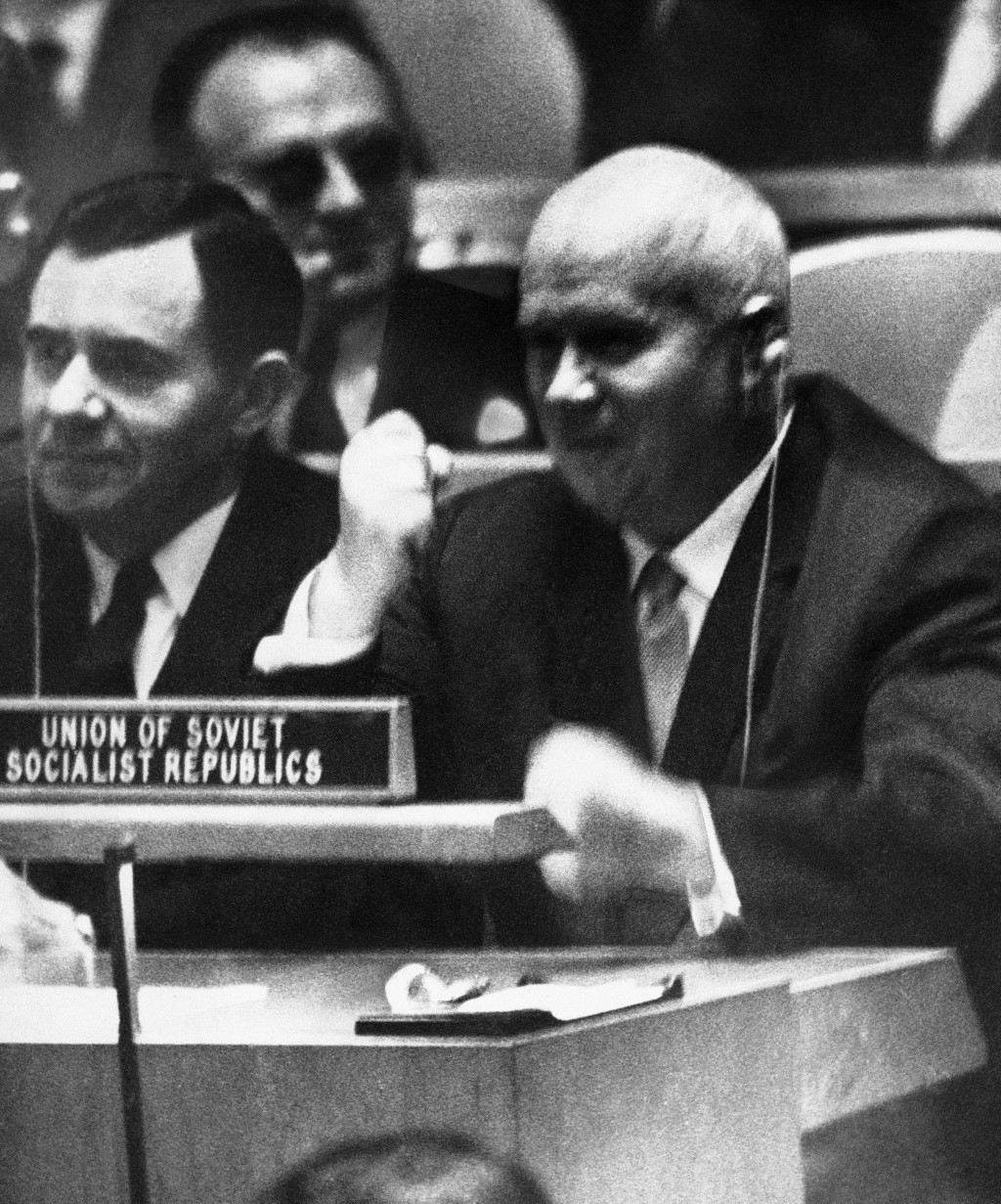 FILE - In this Oct. 12, 1960 file photo, Soviet Premier Nikita Khrushchev pounds his desk at the United Nations with his fist during a General Assembl