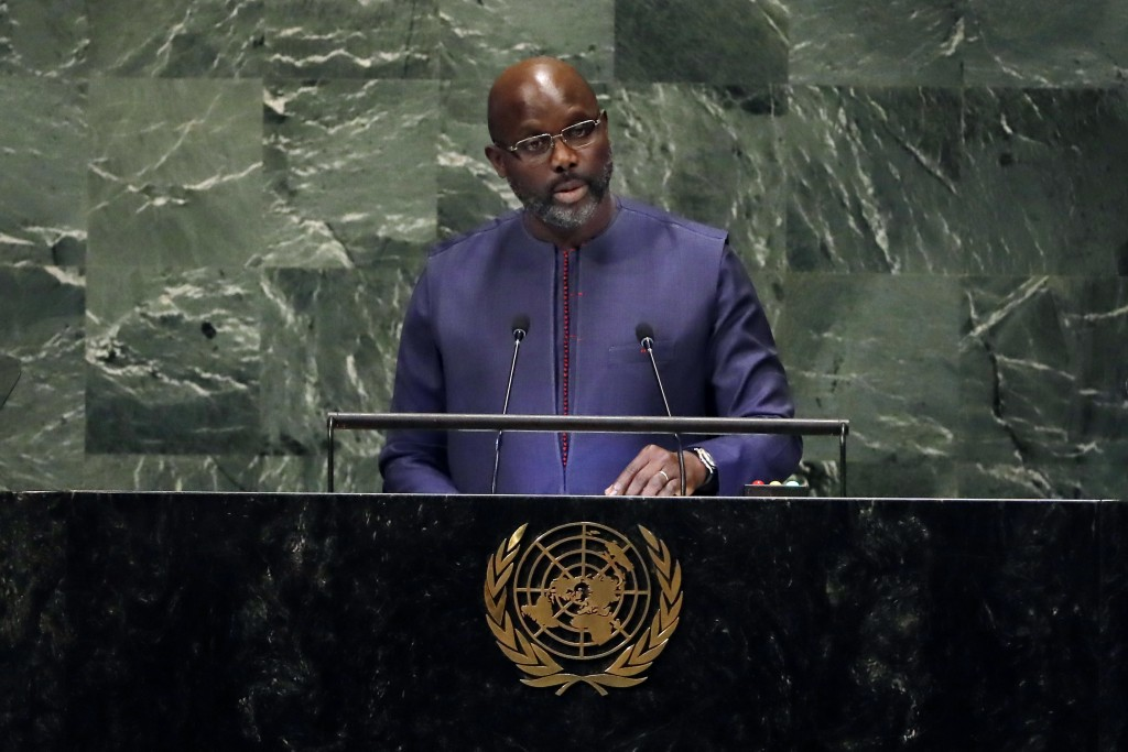 Liberia's President George Manneh Weah addresses the 73rd session of the United Nations General Assembly, at U.N. headquarters, Wednesday, Sept. 26, 2...
