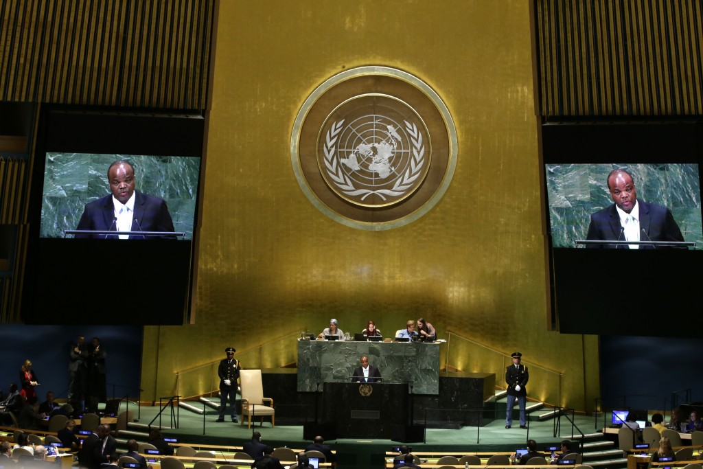 King Mswati III of Eswatini addresses the 73rd session of the United Nations General Assembly Wednesday, Sept. 26, 2018, at the United Nations headqua...