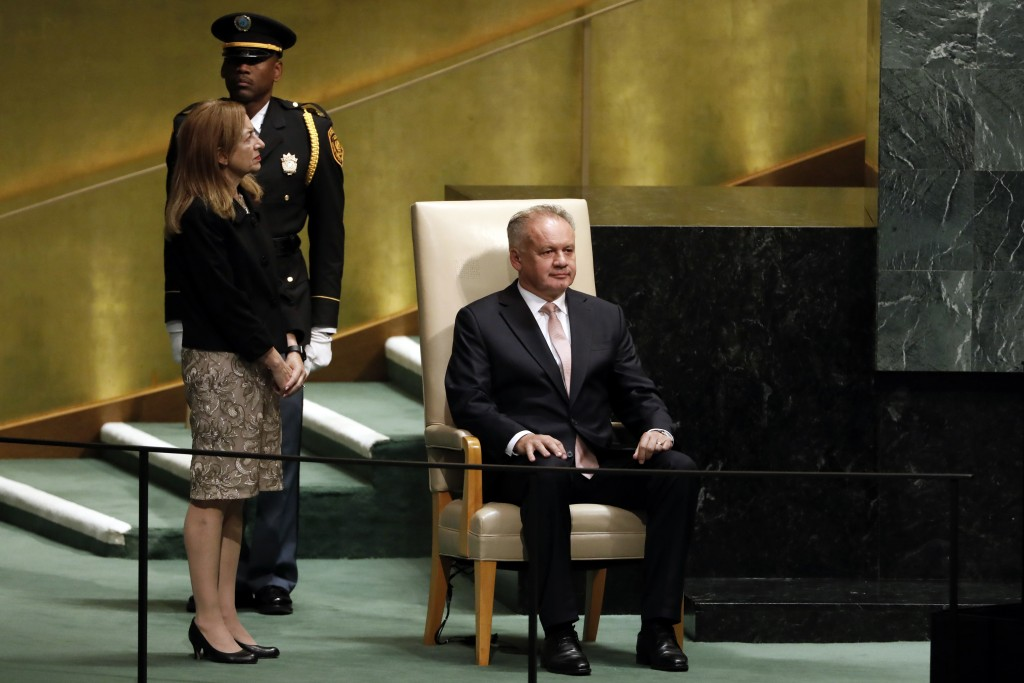 Slovakia's President Andrej Kiska waits to address the 73rd session of the United Nations General Assembly, at U.N. headquarters, Wednesday, Sept. 26,...