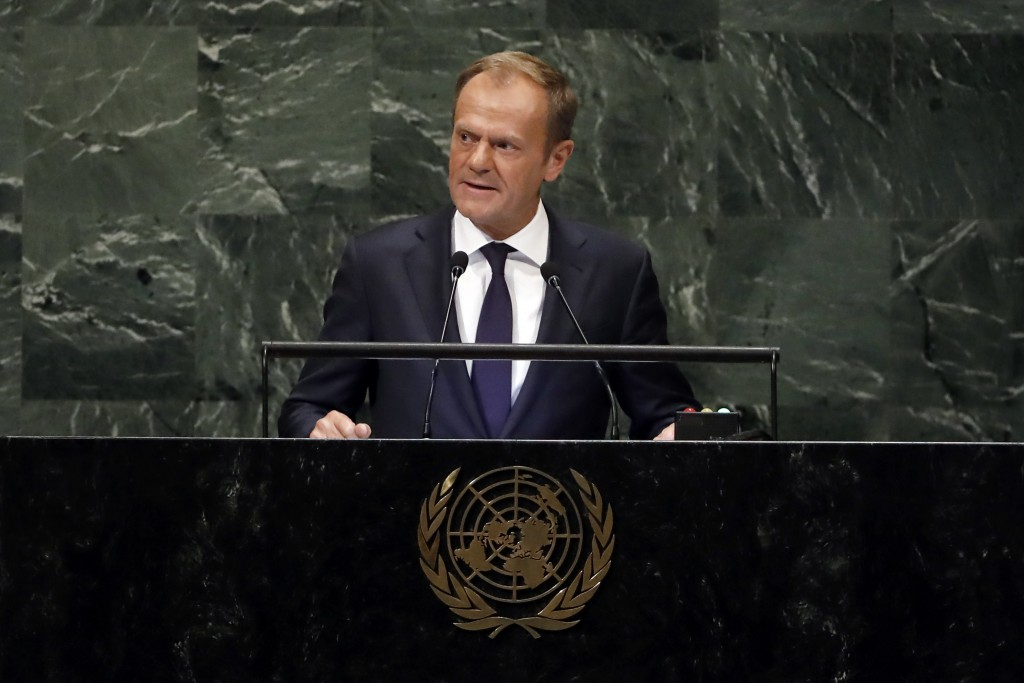 President of the European Council Donald Tusk addresses the 73rd session of the United Nations General Assembly at U.N. headquarters Thursday Sept