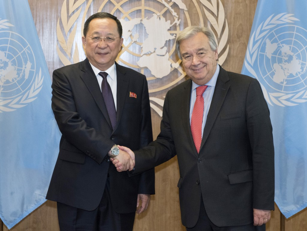 In this photo provided by the United Nations, Ri Yong Ho, left, Minister for Foreign Affairs, Democratic People's Republic of Korea, is greeted by Uni...