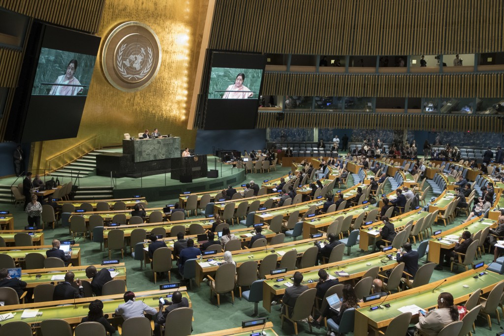 Indian Foreign Minister Sushma Swaraj addresses the 73rd session of the United Nations General Assembly,Saturday, Sept. 29, 2018 at U.N. headquarters....