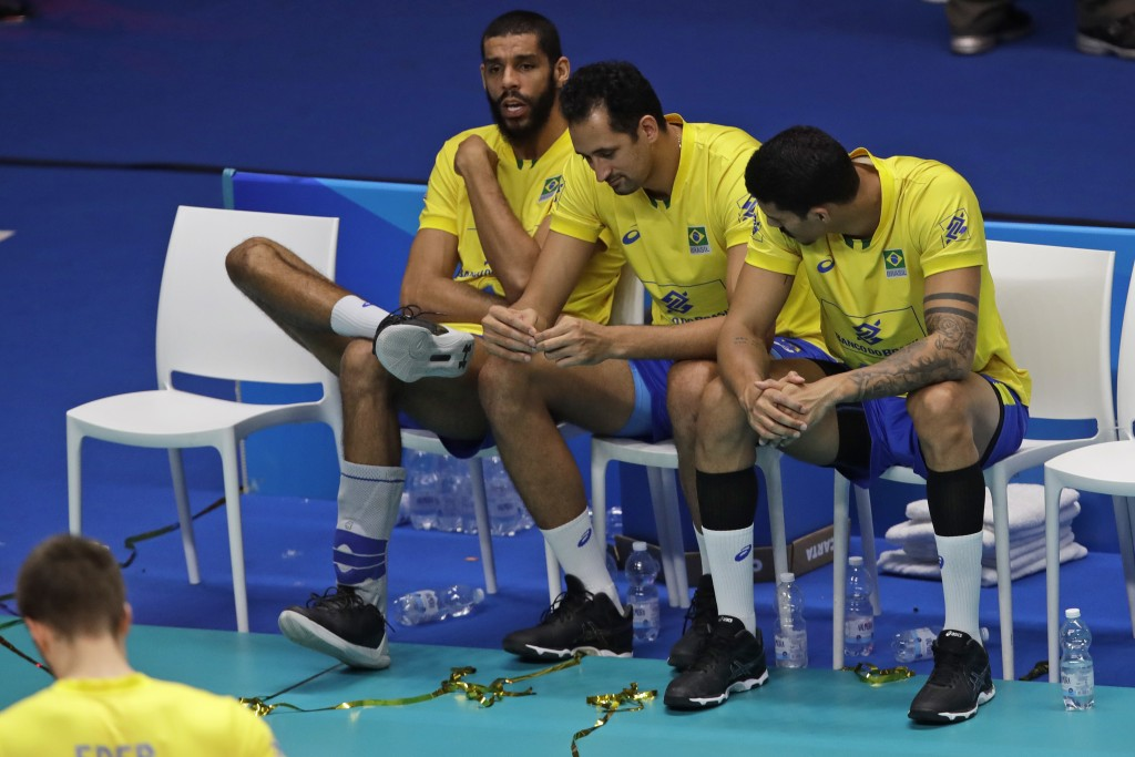 Team Brazil reacts after losing the Men's World Championships volleyball final match between Brazil and Poland, in Turin, Italy, Sunday, Sept. 30, 201...