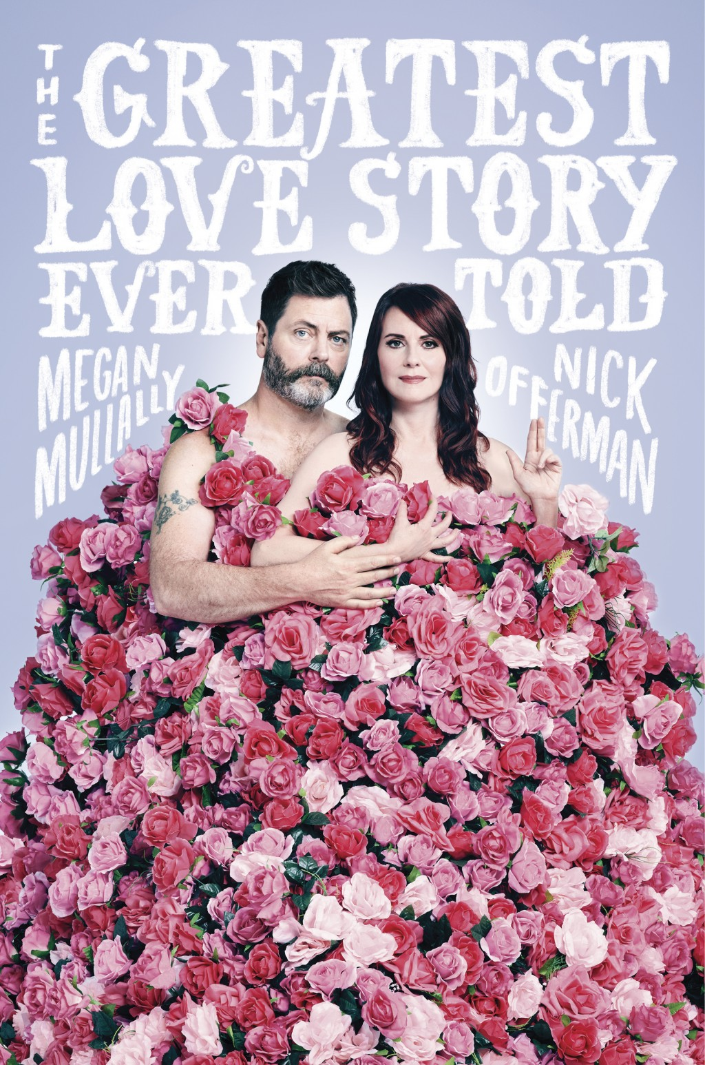 "This cover image released by Dutton shows ""The Greatest Love Story Ever Told,"" by Megan Mullally and Nick Offerman. (Dutton via AP)"