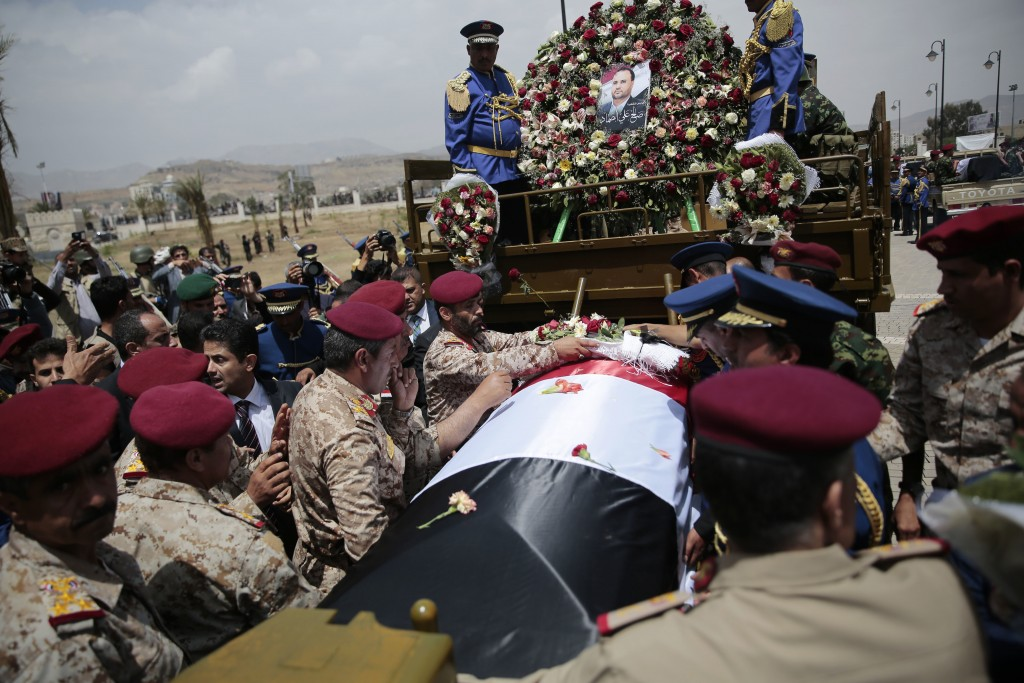FILE - In this April 28, 2018, file photo, Houthi Shiite mourners attend the funeral of Saleh al-Samad, a senior Houthi official who was killed by a S...