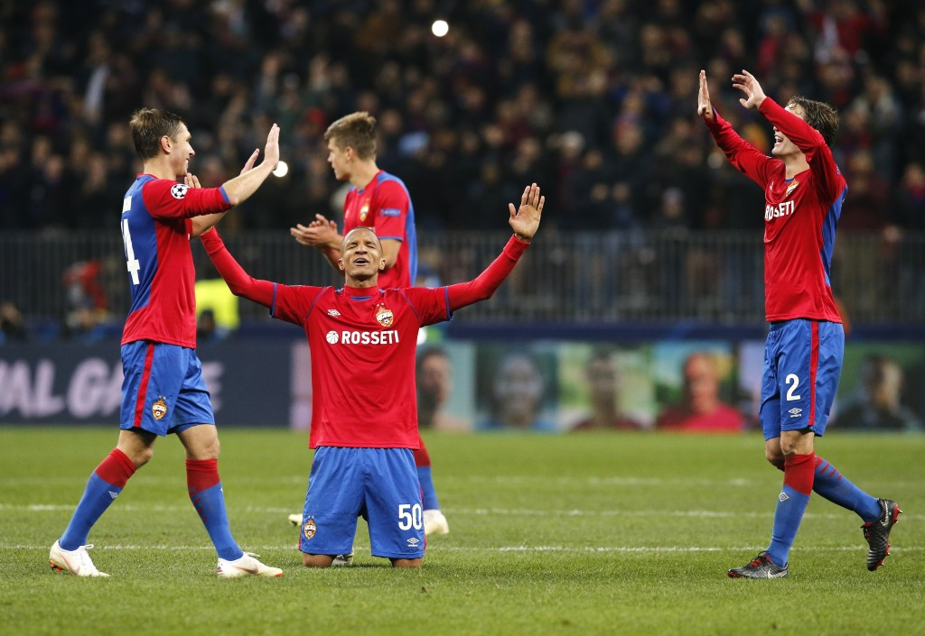 CSKA players celebrate their victory during a Group G Champions League soccer match between CSKA Moscow and Real Madrid at the Luzhniki Stadium in Mos