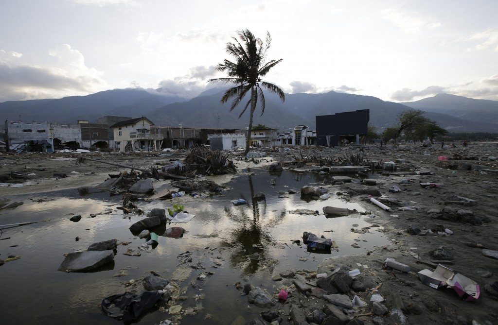 A lone tree stands in the debris from structures that were wiped out after a massive earthquake and tsunami hit Palu, Central Sulawesi, Indonesia Thur...