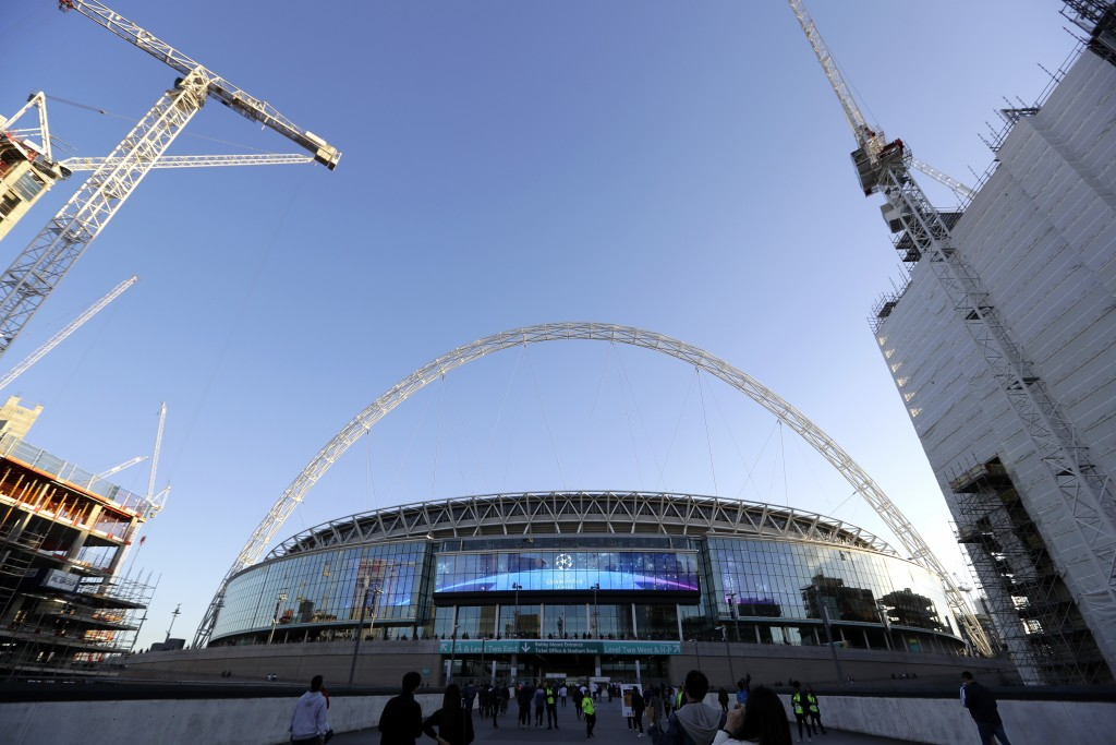 A view of the exterior of Wembley Stadium in London, Wednesday, Oct. 3, 2018. Britain is looking to host up to 60 major sporting events over the next