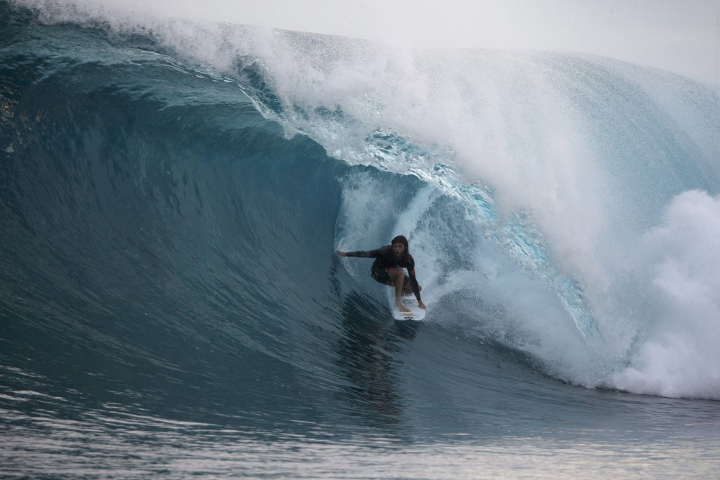 In this June 8, 2018, photograph supplied by Swilly, 29-year-old surfer Matt Meola is shown near Meantawai Islands, Indonesia. Hawaiian surfer Matt Me...
