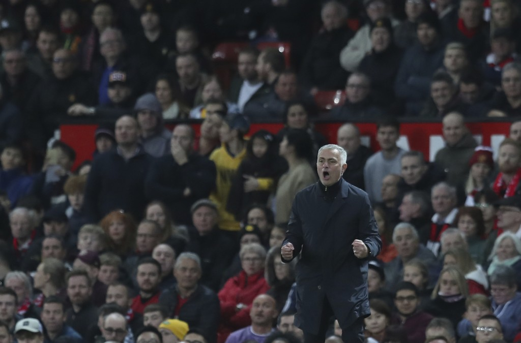Manchester United's manager Jose Mourinho reacts and gestures to his players during their English Premier League soccer match between Manchester Unite...