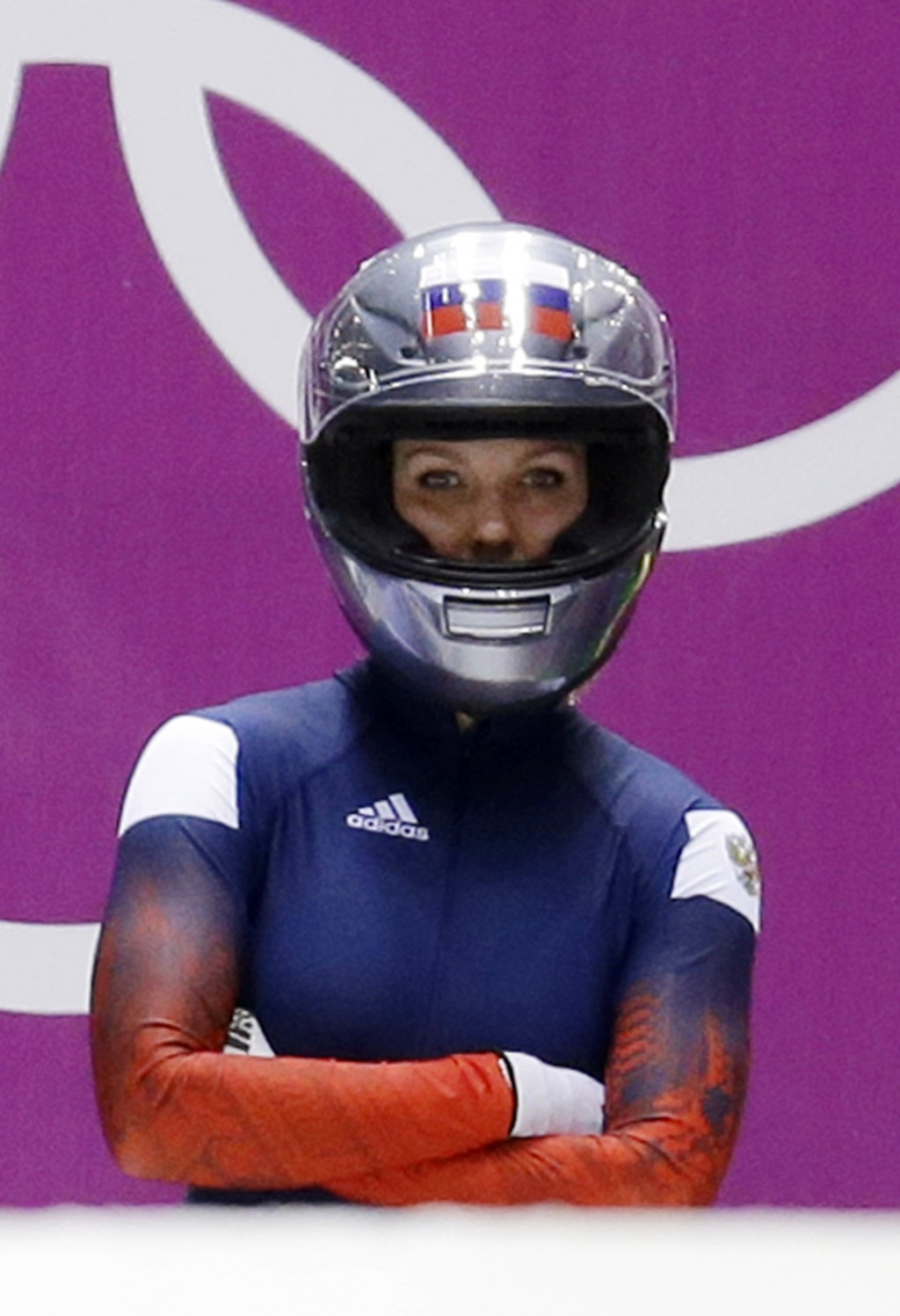 FILE - In this Feb. 18, 2014 file photo, Nadezhda Sergeeva, of Russia, prepares for the first run during the women's two-man bobsled competition at th