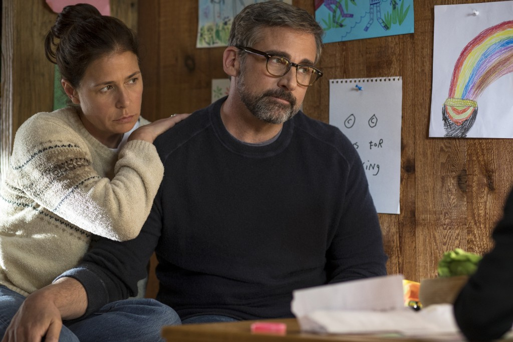"""This image released by Amazon Studios shows Maura Tierney, left, and Steve Carell in a scene from """"Beautiful Boy."""" (Francois Duhamel/Amazon Studios vi"""