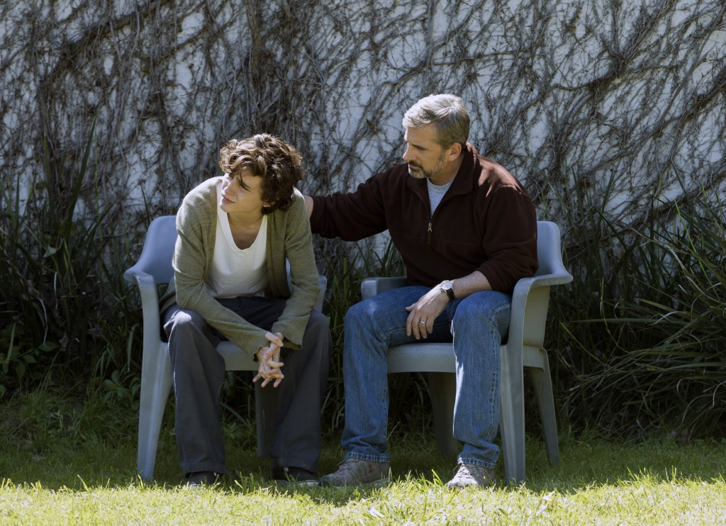 """This image released by Amazon Studios shows Timothée Chalamet, left, and Steve Carell in a scene from """"Beautiful Boy."""" (Francois Duhamel/Amazon Studio"""