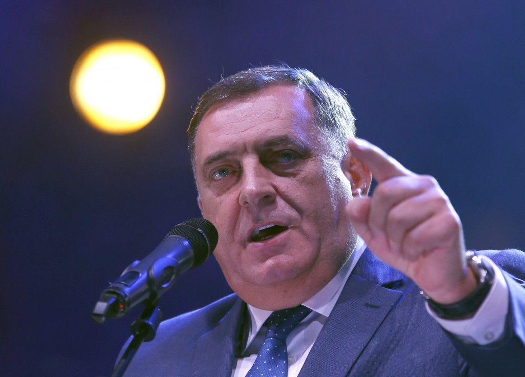FILE - In this Friday, Oct. 5, 2018 file photo, President of the Republic of Srpska Milorad Dodik speaks during the final campaign rally in the Bosnia...