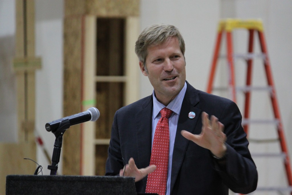 Albuquerque Mayor Tim Keller talks about the economic benefits of having a Netflix production hub in the city during a news conference at ABQ Studios