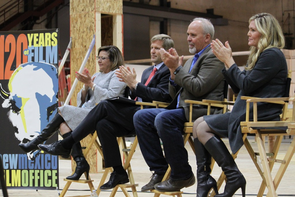 New Mexico Gov. Susana Martinez, from left, Albuquerque Mayor Tim Keller, Netflix vice president for physical production Ty Warren and Albuquerque fil