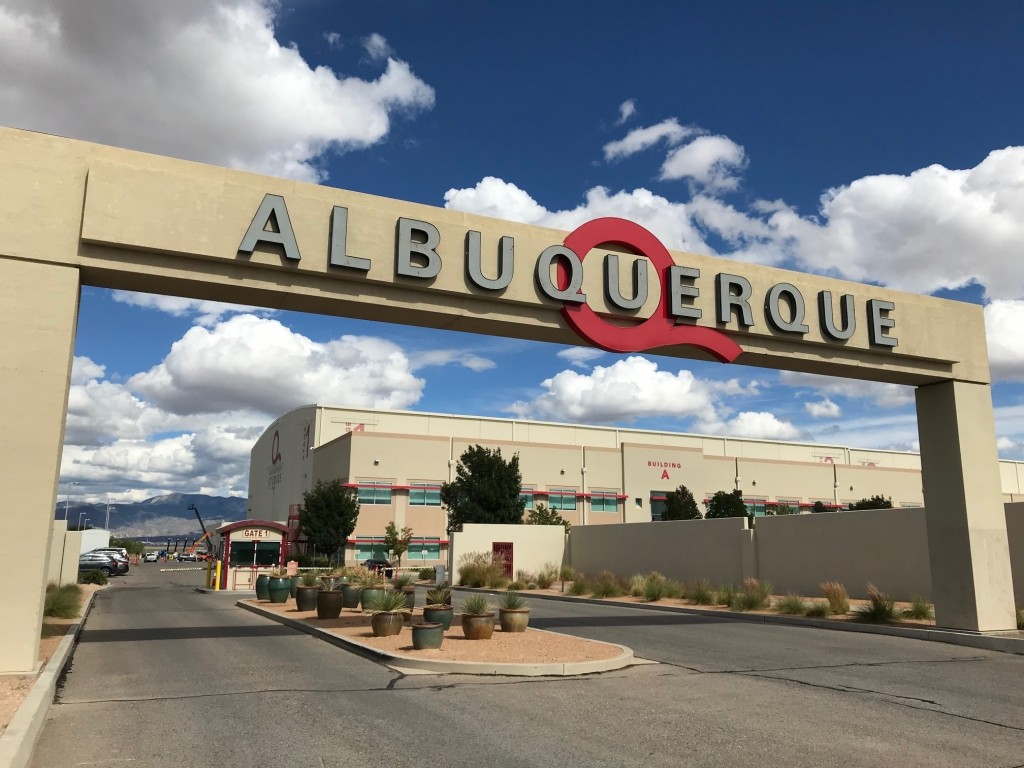 This Oct. 8, 2018 image shows the entrance to ABQ Studios in Albuquerque, N.M., on Monday, Oct. 8, 2018. Netflix announced at the studio complex Monda