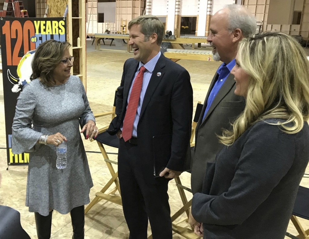New Mexico. Gov. Susana Martinez, from left, Albuquerque Mayor Tim Keller, Gov. Susana Martinez, Netflix vice president for physical production Ty War