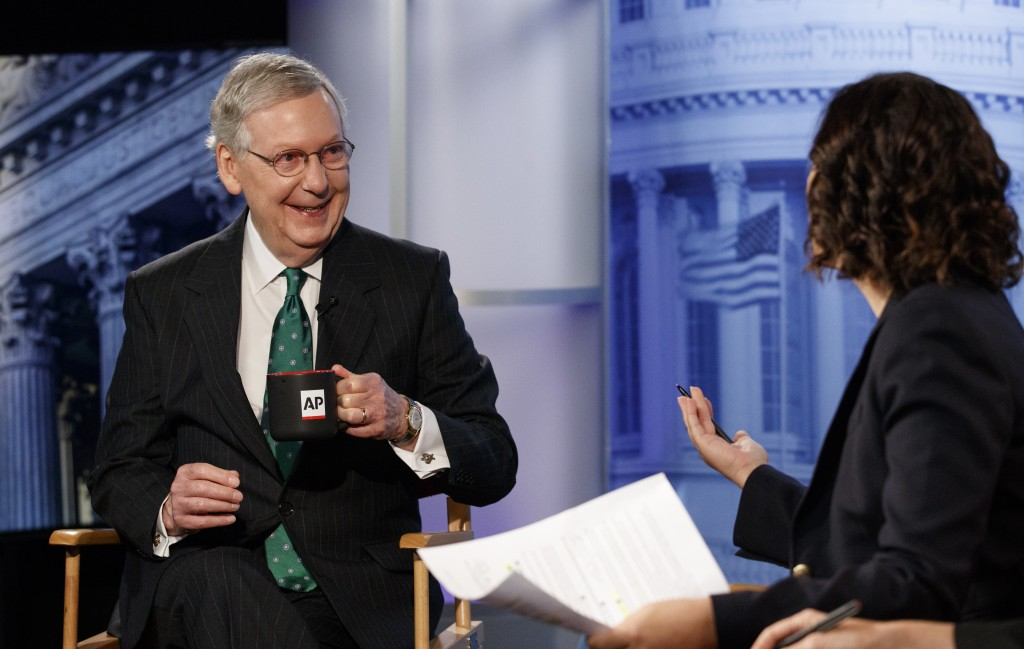 Senate Majority Leader Mitch McConnell of Ky., speaks with Associated Press Washington Bureau Chief Julie Pace during an interview at the Associated P