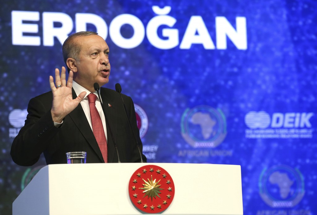 Turkey's President Recep Tayyip Erdogan addresses a Turkey-Africa business forum in Istanbul, Wednesday, Oct. 10, 2018. (Presidential Press Service vi
