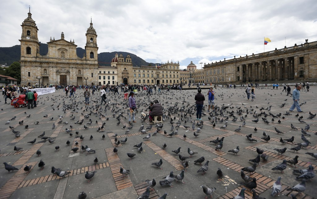 Pigeons fill Bolivar Square in Bogota, Colombia, Tuesday, Oct. 2, 2018. A study conducted by city biologists found that the square's pigeon population...
