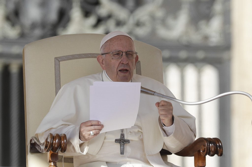 Pope Francis delivers his message on the occasion of his weekly general audience in St.Peter's Square, at the Vatican, Wednesday, Oct. 10, 2018. (AP P
