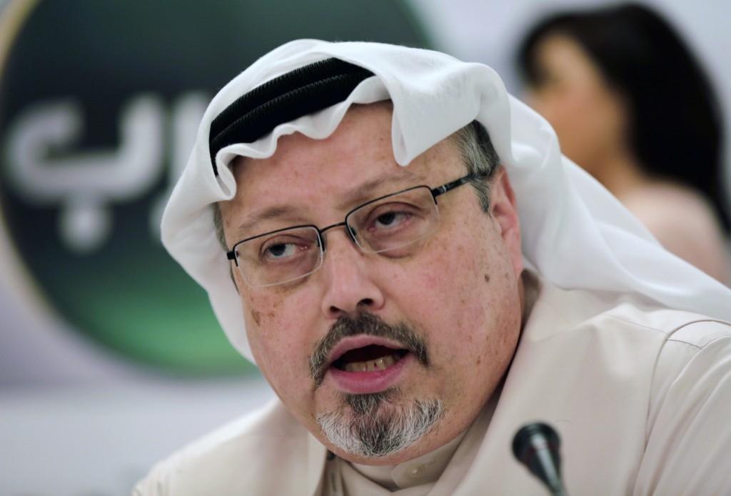FILE - In this Feb. 1, 2015, file photo, Saudi journalist Jamal Khashoggi speaks during a press conference in Manama, Bahrain. Turkish claims that Kha