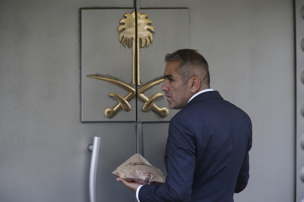 A security guard waits to enter Saudi Arabia's consulate in Istanbul, Wednesday, Oct. 10, 2018. Turkish officials have said they believe Saudi writer