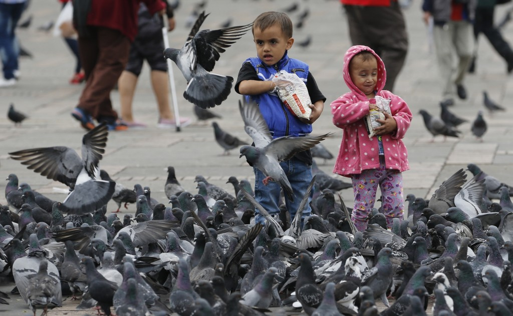 Children feed pigeons at Bolivar Square in Bogota, Colombia, Tuesday, Oct. 2, 2018. Officials believe that if people stop nourishing the birds, they w...