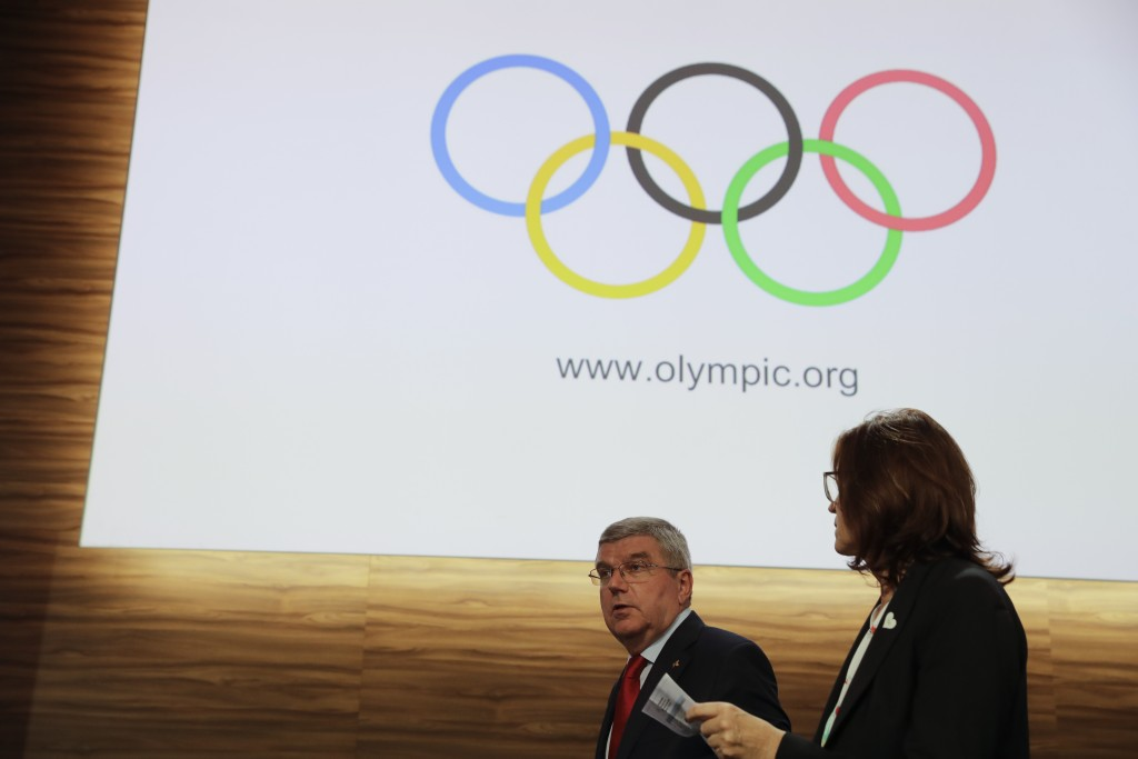 International Olympic Committee President Thomas Bach, leaves at the end of the 133rd IOC session in Buenos Aires, Argentina, Tuesday, Oct. 9, 2018. (