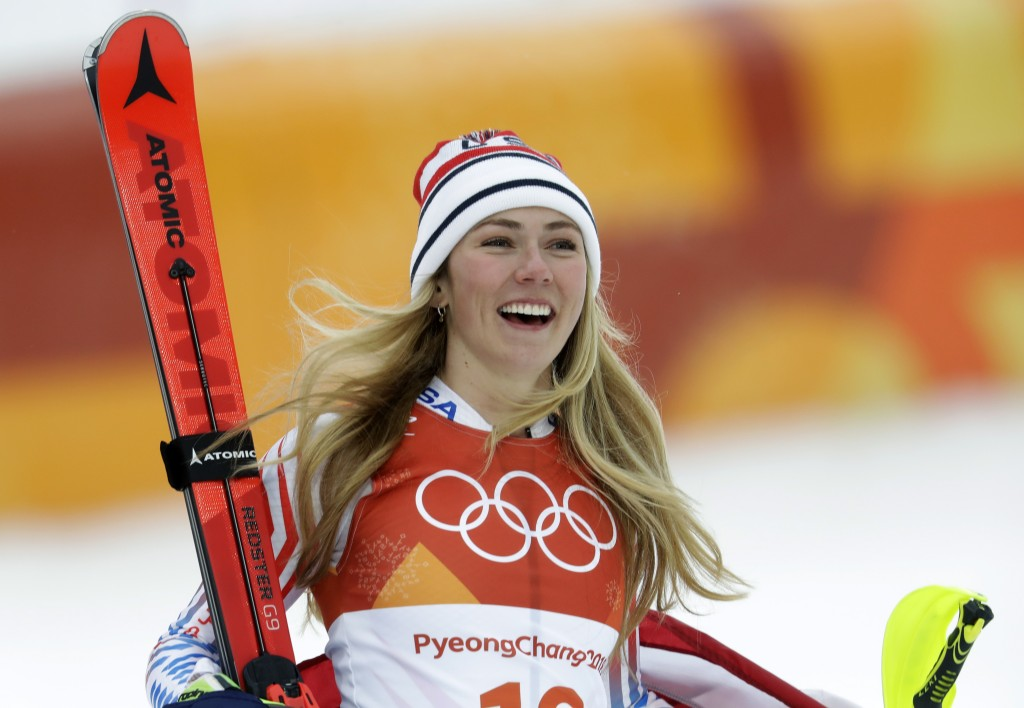 FILE - In this Thursday, Feb. 22, 2018 file photo,United States' Mikaela Shiffrin smiles after competing in the women's combined slalom at the 2018 Wi